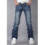 Buy Casual Style Slimming Zipper Fly Straight Leg Bleach Personality Embellished Men's Denim Pants 38 BLUE