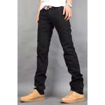 Buy Casual Style Zipper Fly Straight Leg Slimming Button Embellished Solid Color Men's Cotton Blend Pants 28 BLACK