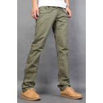 Buy Casual Style Zipper Fly Straight Leg Slimming Pockets Design Solid Color Men's Cotton Blend Pants 34 GREEN