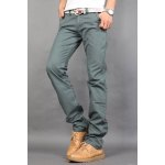 Buy Casual Style Zipper Fly Straight Leg Slimming Solid Color Men's Cotton Blend Joker Pants 32 GREEN