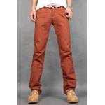 Buy Casual Style Zipper Fly Straight Leg Slimming Solid Color Personality Button Embellished Men's Cotton Blend Pants 30 RED