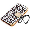 Artificial Leather and Plastic Material Leopard Print Design Cover Case with Card Holder and Lanyard for iPhone 6 4.7 inch Screen for sale
