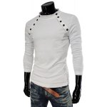 Buy Stylish Stand Collar Slimming Solid Color Buttons Design Long Sleeve Cotton T-Shirt Men 2XL WHITE
