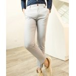 Buy Casual Style Solid Color Pocket Embellished Zipper Fly Slimming Narrow Feet Men's Cotton Blend Nine Minutes Pants 29
