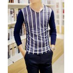 Buy Casual Style V-Neck Long Sleeves Stripes Print Color Block Personality Gauze Design Slimming Men's Cotton Blend T-Shirt 2XL CADETBLUE