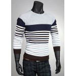 Buy Slimming Round Neck Color Block Stripes Print Splicing Long Sleeves Men's Cotton Blend Sweater M LIGHT GRAY