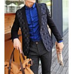 Buy Black Stylish Long Sleeves Single-Breasted Lapel Personality Plaid Print Splicing Slimming Men's Cotton Blend Blazer-51.50 Online Shopping GearBest.com