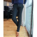 Buy Casual Style Slimming Straight Leg Zipper Fly Personality Edging Waist Men's Cotton Pants 29 BLACK