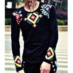 Buy Stylish Round Neck Slimming Colorful Geometric Printed Long Sleeve Cotton Blend T-Shirt Men L BLACK