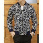 Buy Stylish Stand Collar Slimming Flower Print Rib Splicing Long Sleeves Men's Cotton Blend Jacket 2XL COLORMIX