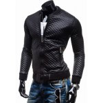 cheap Trendy Slimming Long Sleeves Stand Collar Plaid Print Solid Color Thicken Zipper Design Men's Leather Jacket