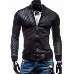 Trendy Slimming Long Sleeves Stand Collar Plaid Print Solid Color Thicken Zipper Design Men's Leather Jacket