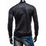 Trendy Slimming Long Sleeves Stand Collar Solid Color Plaid Thicken Zipper Design Men's Leather Jacket deal