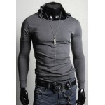 Buy Trendy Slimming Long Sleeves Hooded Solid Color Men's Cotton Blend T-Shirt 2XL GRAY