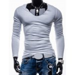 Buy Trendy Slimming Long Sleeves Round Neck Solid Color Button Embellished Men's Cotton Blend T-Shirt XL WHITE