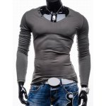 Buy Trendy Slimming Long Sleeves Round Neck Solid Color Button Embellished Men's Cotton Blend T-Shirt L GRAY