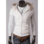 Buy Casual Style Long Sleeves Hooded Personality Fur Embellished Zipper Design Slimming Thicken Men's Cotton Blend Hoodies M WHITE