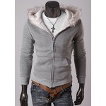 Buy Casual Style Long Sleeves Hooded Personality Fur Embellished Zipper Design Slimming Thicken Men's Cotton Blend Hoodies XL LIGHT GRAY