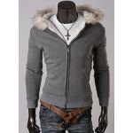 Buy Casual Style Long Sleeves Hooded Personality Fur Embellished Zipper Design Slimming Thicken Men's Cotton Blend Hoodies M DEEP GRAY