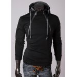 Buy Trendy Long Sleeves Hooded Personality Double Zipper Design Slimming Thicken Men's Cotton Blend Hoodies M BLACK