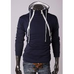 Buy Trendy Long Sleeves Hooded Personality Double Zipper Design Slimming Thicken Men's Cotton Blend Hoodies 2XL CADETBLUE