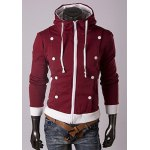 Buy Trendy Long Sleeves Hooded Wrinkle Design Double-Breasted Embellished Solid Color Slimming Men's Cotton Hoodies L