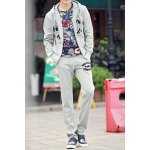 Buy Light gray Stylish Letter Printed Houndstooth Splicing Slimming Cotton Men's Hoodie Sweatpants-31.15 Online Shopping GearBest.com