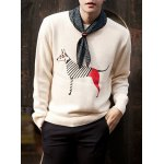 Buy Casual Style Slimming Long Sleeves Round Neck Animal Print Men's Cotton Blend Sweater XL