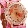 Womage 9965 - 3 Fashionable Leather Band Female Quartz Watch with Diamond Flower Round Dial deal