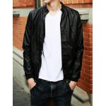 Buy Slimming Trendy Solid Color Rib Splicing Stand Collar Long Sleeves Men's PU Leather Jacket 2XL BLACK