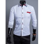 Buy Stylish Shirt Collar Slimming Buttons Design Hit Color Stripe Splicing Long Sleeve Polyester Men M WHITE