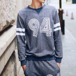 Buy Casual Style Slimming Long Sleeves Round Neck Digital Print Stripes Splicing Men's Cotton Blend Sweatshirt XL