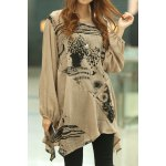 cheap Abstract Print Loose-Fitting Stylish Scoop Collar Long Sleeve Women's T-Shirt