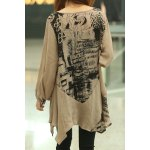 Abstract Print Loose-Fitting Stylish Scoop Collar Long Sleeve Women's T-Shirt deal
