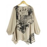 best Abstract Print Loose-Fitting Stylish Scoop Collar Long Sleeve Women's T-Shirt