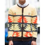 Buy Yellow Slimming Trendy Round Neck Hit Color Abstract Print Long Sleeves Men's Cotton Blend Cardigan-24.10 Online Shopping GearBest.com