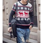 Buy Casual Style Long Sleeves Round Neck Deerlet Snowflake Print Slimming Men's Cotton Sweater XL