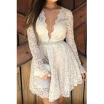 cheap Plunging Neckline Long Sleeve A-Line Lace Braless Dress