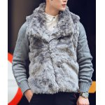 Buy Stylish Turndown Collar Slimming Thicken Knitted Splicing Long Sleeve Faux Fur Cotton Coat Men