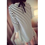 cheap Casual Scoop Neck Long Sleeves Striped Dress For Women