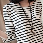 Casual Scoop Neck Long Sleeves Striped Dress For Women deal
