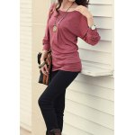 Casual Style Scoop Neck Long Batwing Sleeve Solid Color Loose-Fitting Women's T-Shirt deal