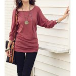 cheap Casual Style Scoop Neck Long Batwing Sleeve Solid Color Loose-Fitting Women's T-Shirt
