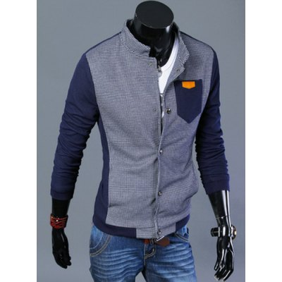 Stylish Stand Collar Slimming Hit Color Checked Splicing Pocket Design Long Sleeve Cotton Jacket For Men