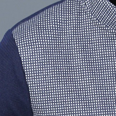 Фотография Stylish Stand Collar Slimming Hit Color Checked Splicing Pocket Design Long Sleeve Cotton Jacket For Men