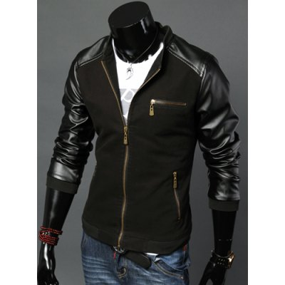 Stylish Stand Collar Slimming Hit Color PU Leather Splicing Zipper Pockets Long Sleeve Cotton Jacket For MenMens Jakets &amp; Coats<br>Stylish Stand Collar Slimming Hit Color PU Leather Splicing Zipper Pockets Long Sleeve Cotton Jacket For Men<br><br>Clothes Type: Jackets<br>Material: Faux Leather, Polyester, Cotton<br>Collar: Mandarin Collar<br>Clothing Length: Regular<br>Style: Fashion<br>Weight: 1.325KG<br>Sleeve Length: Long Sleeves<br>Season: Fall<br>Package Contents: 1 x Jacket