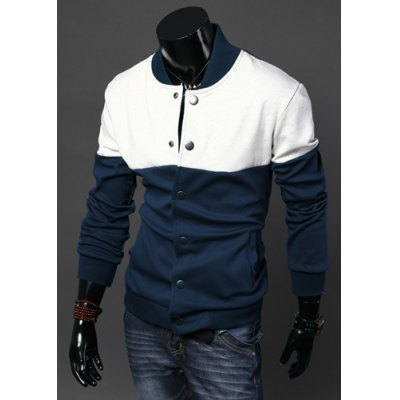 Гаджет   Stylish Stand Collar Slimming Single Breasted Color Block Splicing Long Sleeve Cotton Jacket For Men Jackets & Coats
