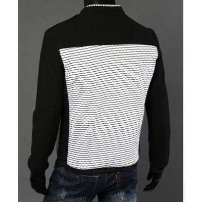 Гаджет   Stylish Stand Collar Slimming Hit Color Waviness Splicing Long Sleeve Cotton Jacket For Men Jackets & Coats