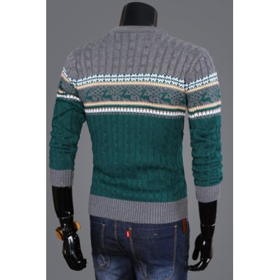 Фотография Stylish Round Neck Slimming Fawn Jacquard Hit Color Splicing Kink Design Long Sleeve Cotton Sweater For Men