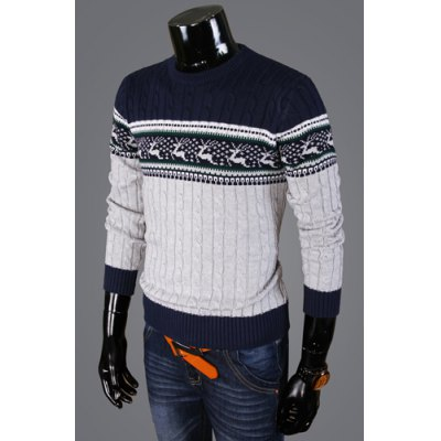Гаджет   Stylish Round Neck Slimming Fawn Jacquard Hit Color Splicing Kink Design Long Sleeve Cotton Sweater For Men